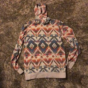 Aztec print hooded sweat shirt